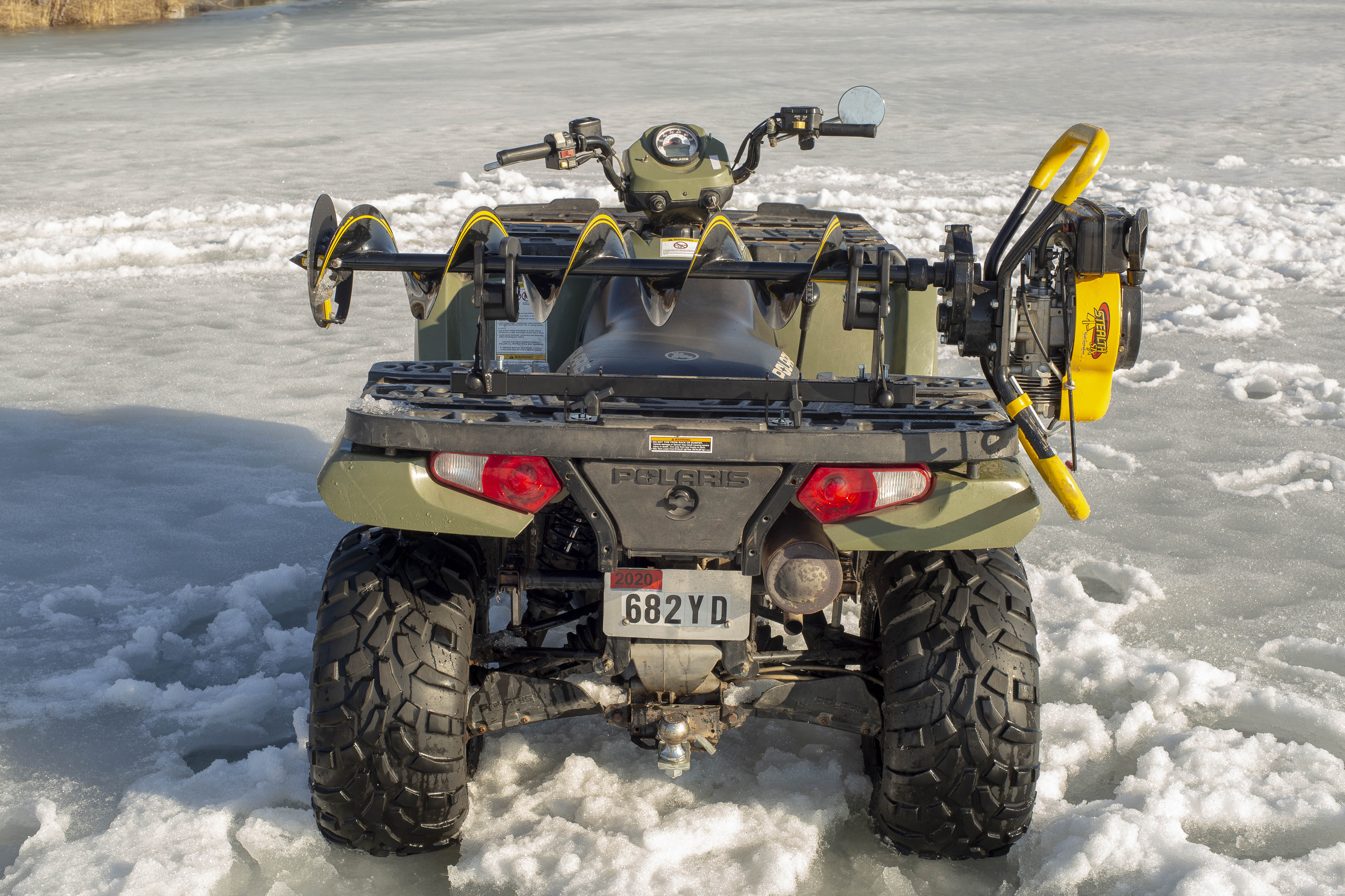 Jaws Of Ice Composite Ice Auger Carrier On Polaris ATV